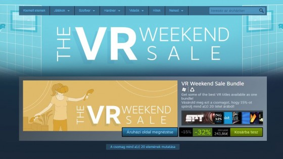 Ezen a hétvégén bevásárolhatsz VR játékból a Steamen - fókusz