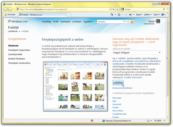 windows live fototar telepites