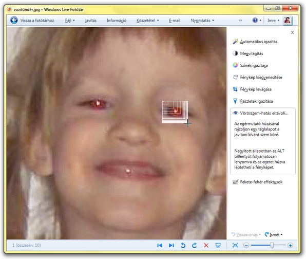 windows live fototar voros szem kijeloles (red eye)