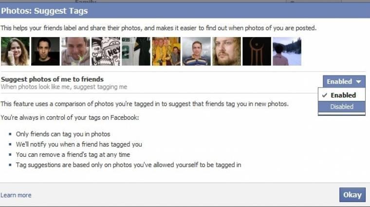Aggályos Facebook arcfelismerés kép