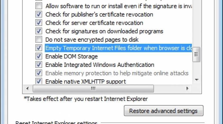 Napi tipp: Internet Explorer-előzmények törlése kilépéskor kép