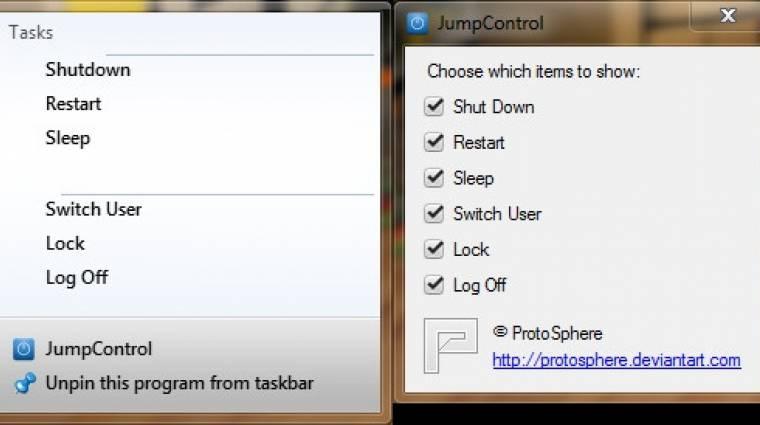 Napi tipp: JumpControl - leállítás a tálcáról kép