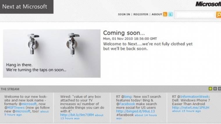 Előkészületben a Microsoft Next weboldala kép