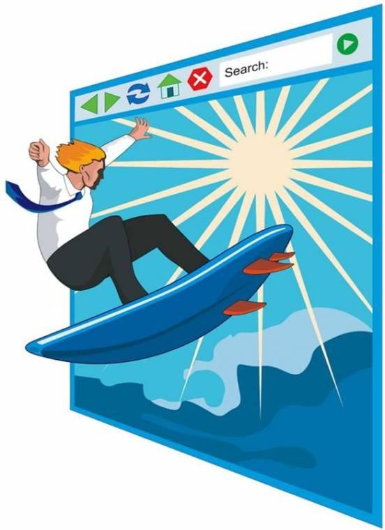 internetező (szörfözés, rajzolt)