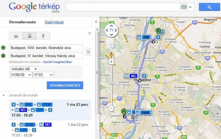 google térkép maps bkv útvonaltervező