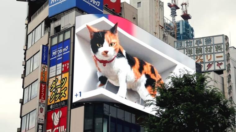 Hatalmas digitális macska vette át Tokió egyik legjelentősebb kültéri reklámfelületét kép