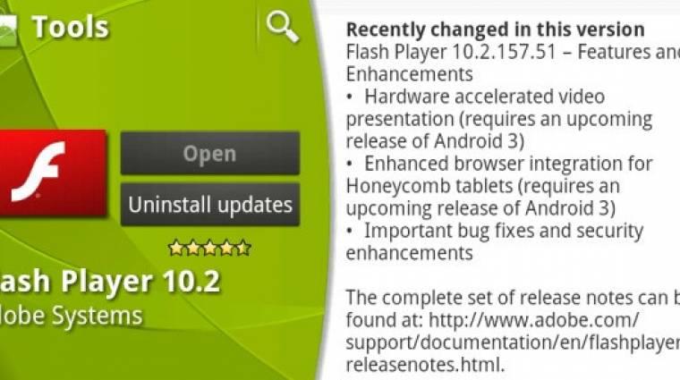 Android 3.1-en is működik az új Flash kép