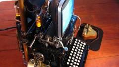 Írógép és Mac hibrid, steampunk stílusban kép