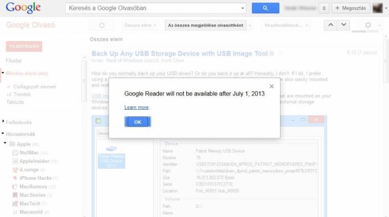 Július elsejével lőttek a Google Readernek kép