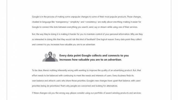 Hirdetésben kritizálta a Microsoft a Google új adatvédelmi elveit kép