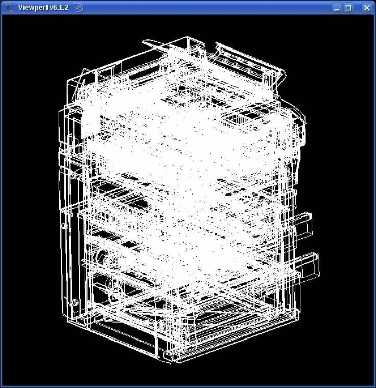 CAD Workstation mérés egy irodai fénymásológép 3D drótvázával