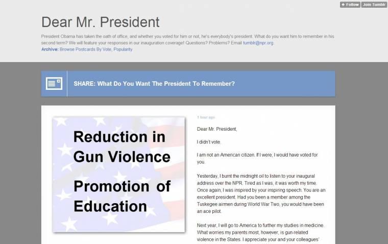 Dear Mr President Obama