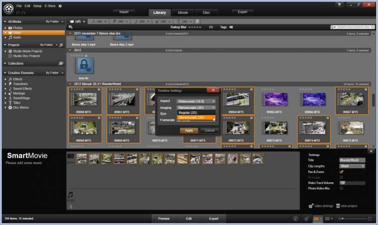 Automatikus 3D konverzió és videoszerkesztés a Pinnacle Studio 16-ban.