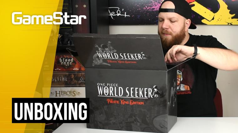 One Piece World Seeker press kit unboxing - sajtócsomag két szoborral bevezetőkép