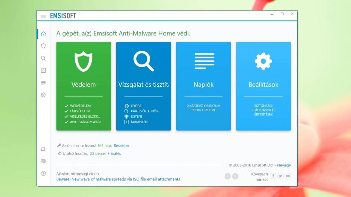 Emsisoft Anti-Malware Home – éves vírusvédelem ajándékba kép