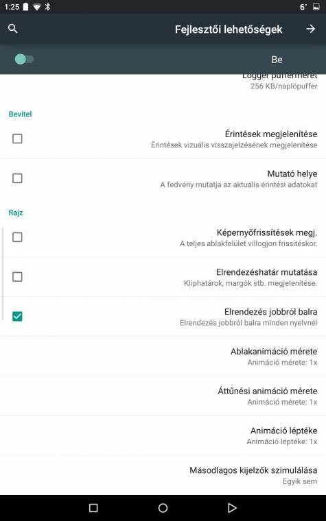 Rejtett beállítások: az Android fejlesztői lehetőségei