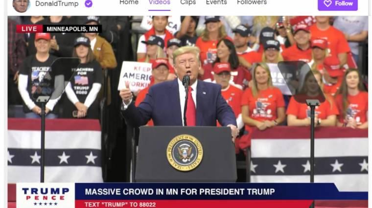 A Twitch ideiglenesen felfüggesztette Donald Trump csatornáját kép