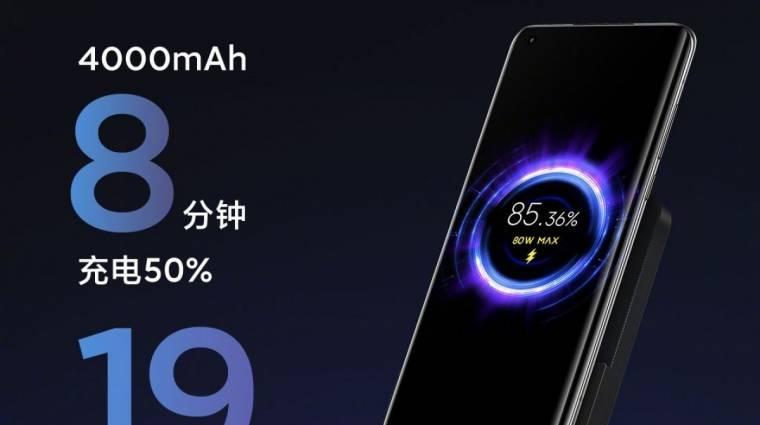 A Xiaomi 80 wattos vezeték nélküli töltője 19 perc alatt feltölt egy mobilt kép