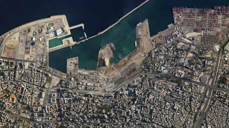 Döbbenetes műholdképeken látható a bejrúti pusztítás mértéke kép