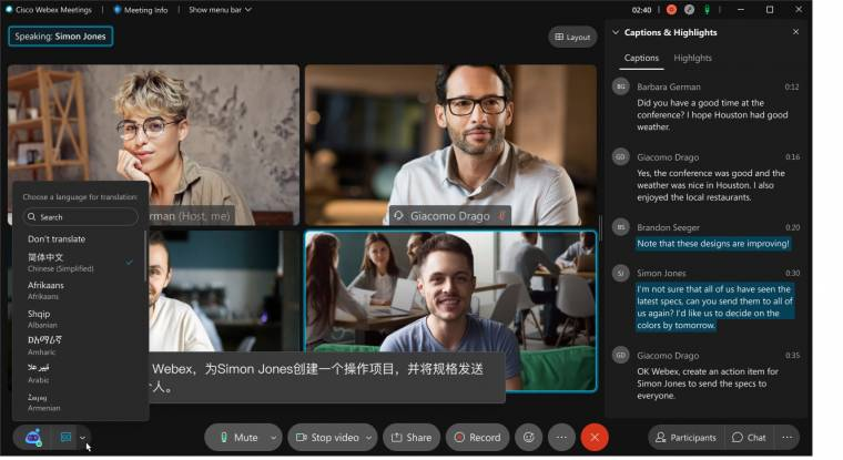 Cisco Webex: Real-time translation for web conferencing