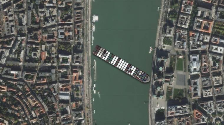 Itt egy app, amivel bárhol elakaszthatjuk a Szuezi-csatornában ragadt hajót kép