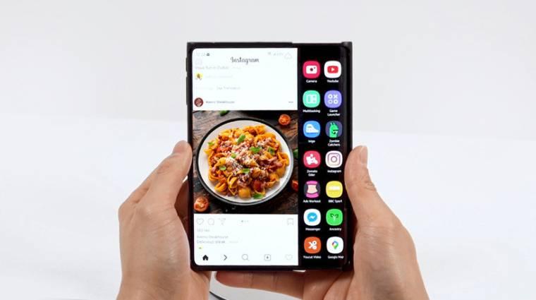 Feltekerhető kijelzős mobilon dolgozik a Samsung kép