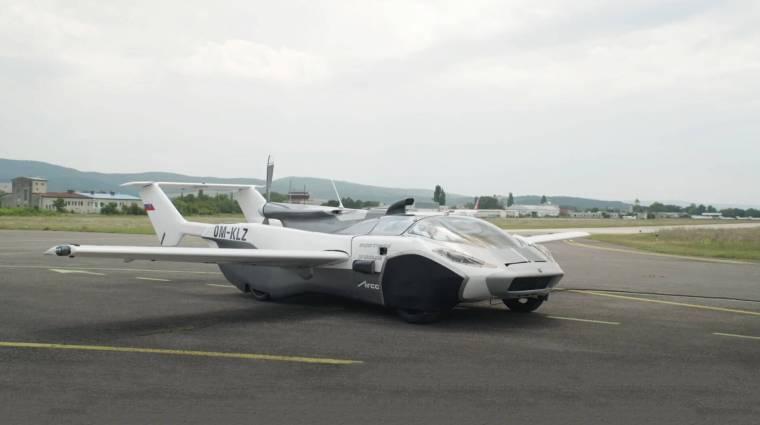 Megtette első hosszabb útját a szlovák repülő autó kép