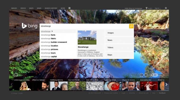 Frissített kezelőfelületet kap a Bing kép