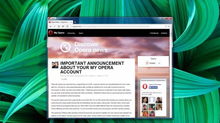 Bezár az Opera levelezője és közösségi portálja kép
