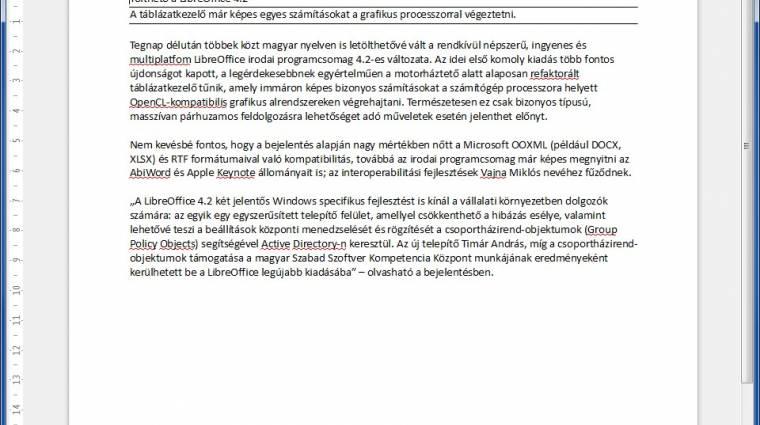 Megérkezett a LibreOffice 4.2 kép