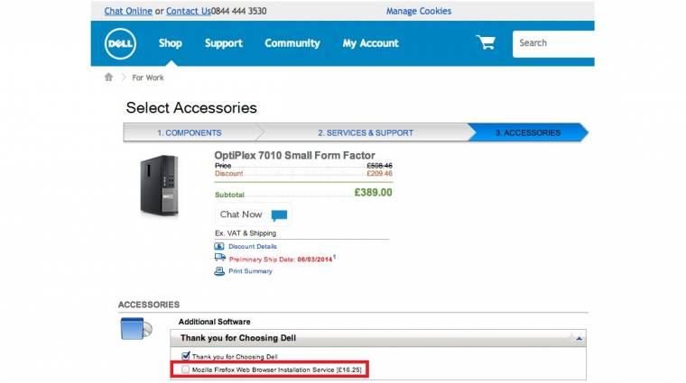 A brit Dellnél 6000 forintba kerül a Firefox kép