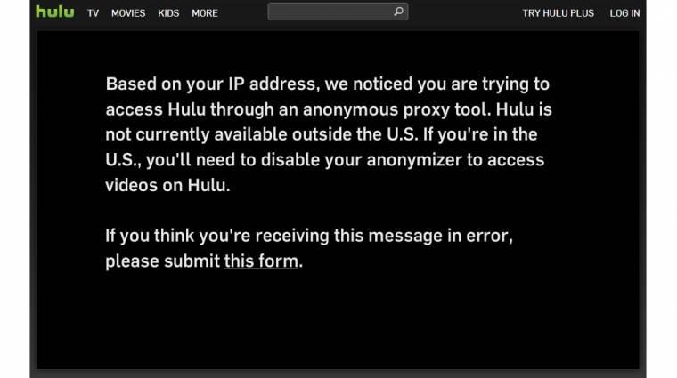 Blokkolja a nemzetközi látogatókat a Hulu kép