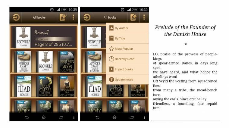 Androidos e-book olvasó saját áruházzal kép