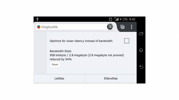 Adattömörítés az androidos Mozilla Firefoxszal kép