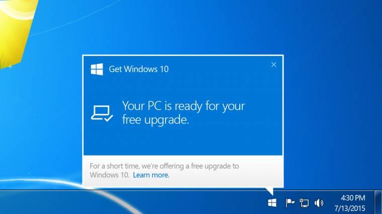 Egyszerűbbé vált ingyen Windows 10-re frissíteni kép