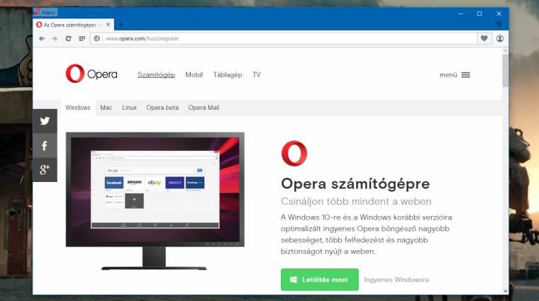 Telepíthető az Opera 35 böngésző kép