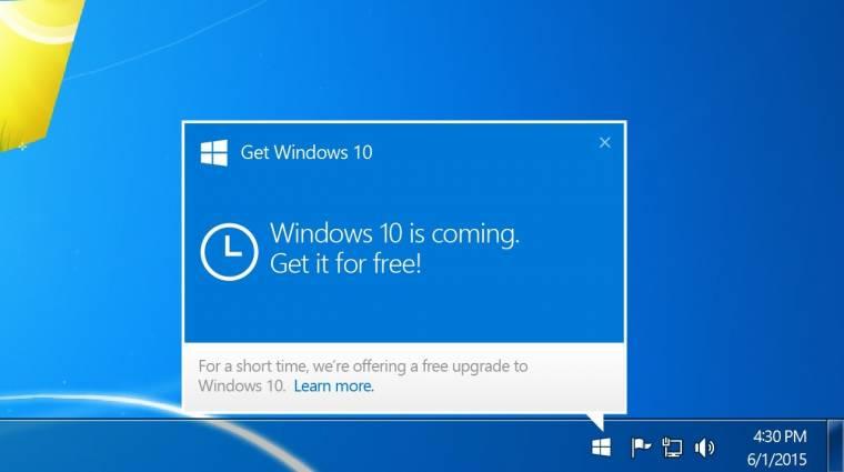 Eltűnik a Get Windows 10 alkalmazás kép