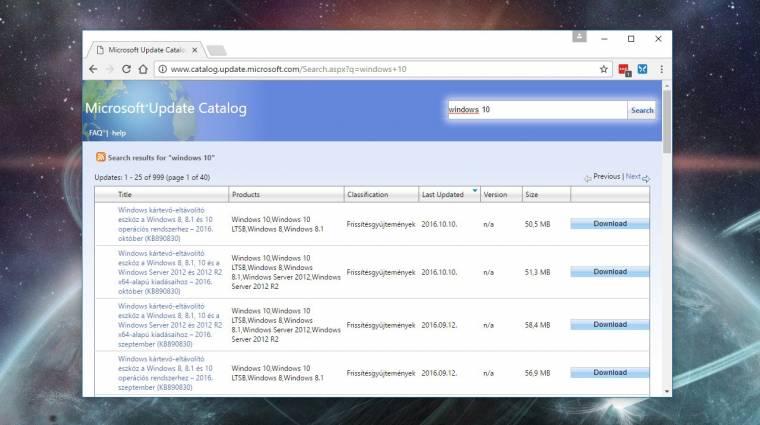 Új böngészőkkel is működik már a Microsoft Update Catalog kép
