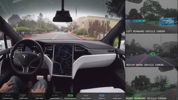 Videó: ezt látja működés közben a Tesla autopilótája kép
