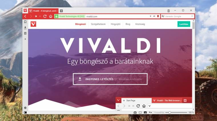 Már képernyőképek is készíthetőek a Vivaldival kép