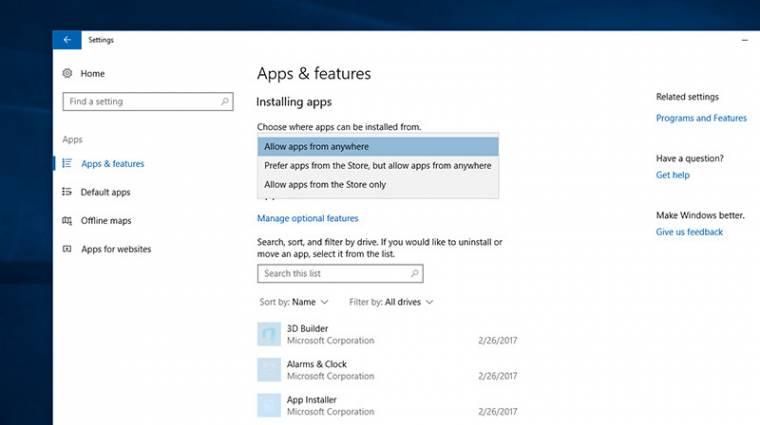Letiltható lesz a Win32 appok telepítése a Windows 10-ben kép