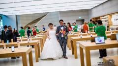 Egy Apple Store-ban tartották az esküvő utáni fotózást kép