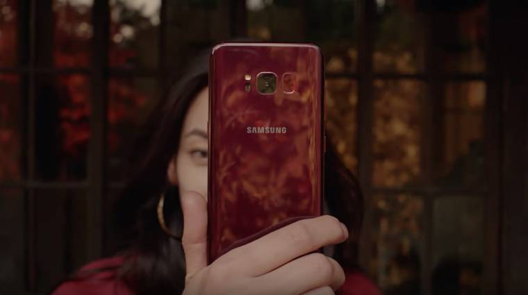 Gyönyörű a burgundi vörös Galaxy S8 kép