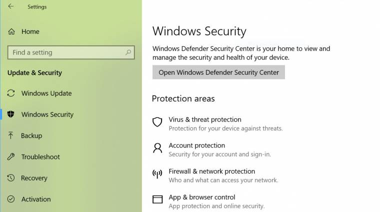 Itt a Windows Security kép