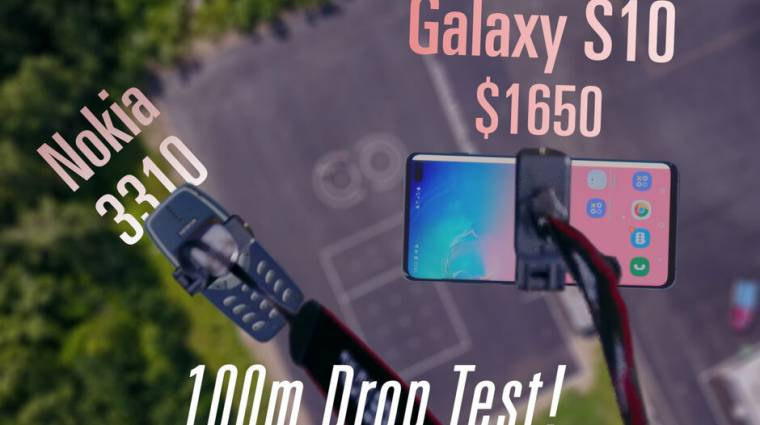 Drónról, 100 méter magasból hajították le a kerámia házas Galaxy S10+ okostelefont kép