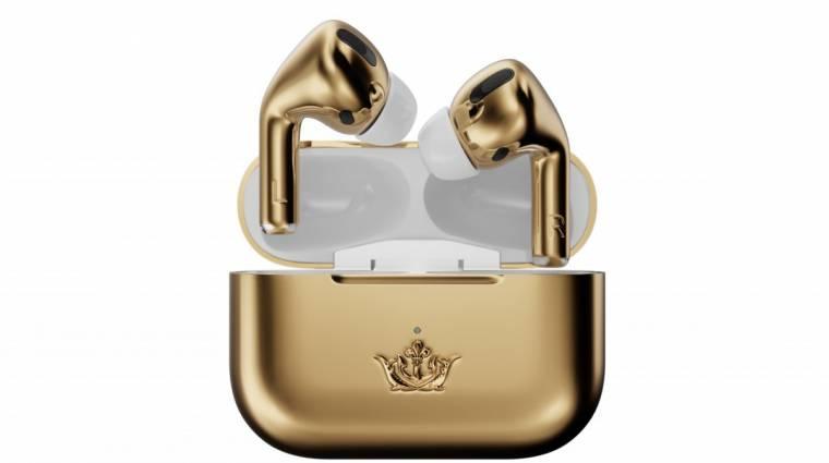 Zenét lejátszó drága fülbevaló lett a Caviar Airpods Pro Gold Edition kép
